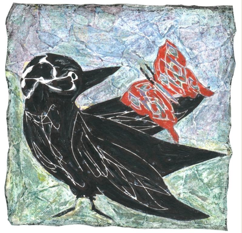 corvo e farfalla collage - tecnica mista