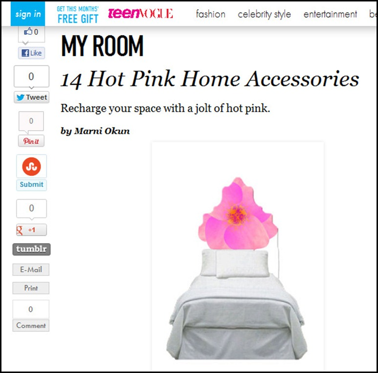 glam-a-peel.com in Teen Vogue Hot Pink
