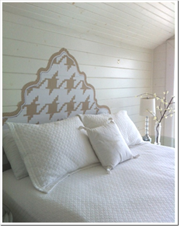 gLaM-a-PeeL wall decal headboard TAN and WHITE HOUNDSTOOTH photo copy