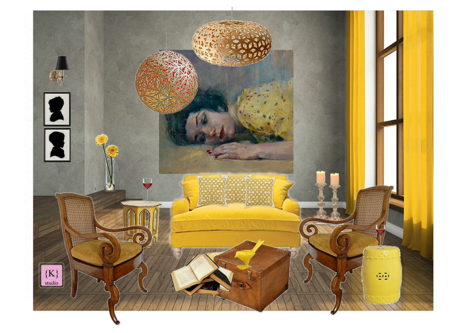 design board: yellow for living room -konstadina nastou- {.k.} blog, Κωνσταντίνα Νάστου