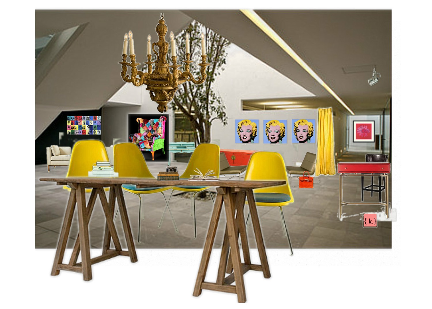 design board: Andy Warhol Inspired Studio Space -konstadina nastou- {.k.} blog, Κωνσταντίνα Νάστου
