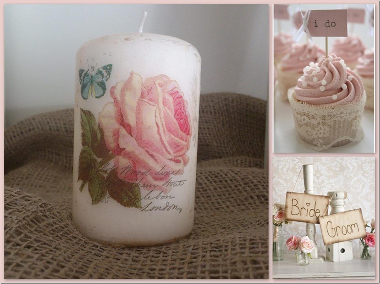 Vintage Roses Μπομπονιερα κερι 2