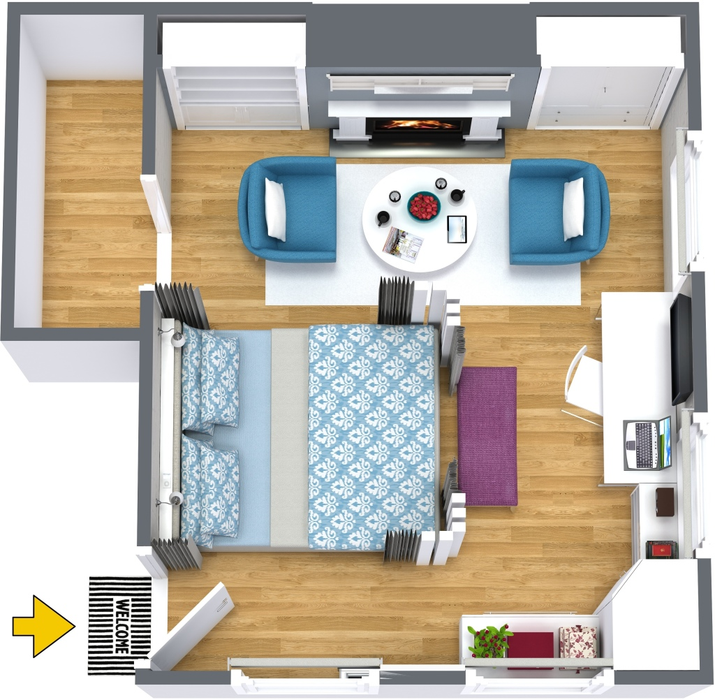 Tiny studio - 3d floor plan by Decor Interiors & more! ​