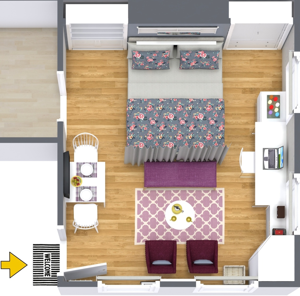 Tiny studio - 3d floorplan by Decor Interiors & more! ​